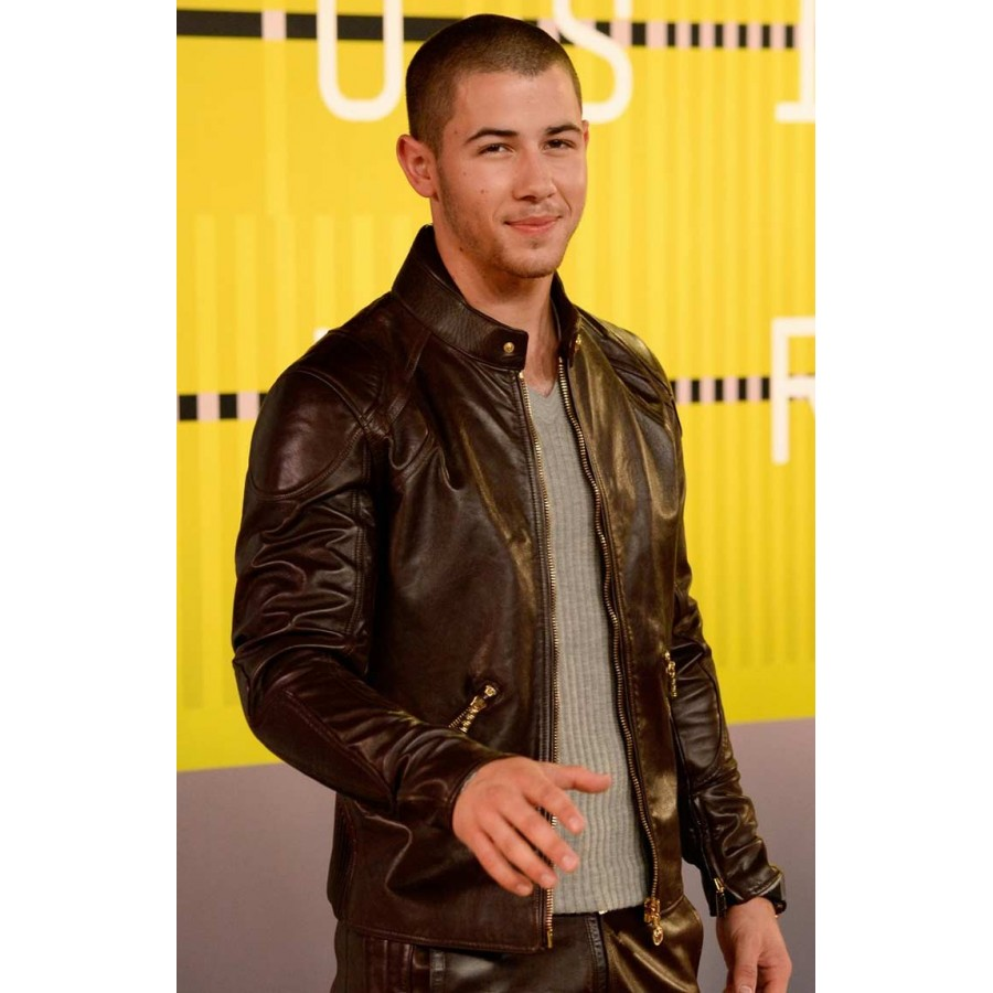 7bc02c39072 MTV Music Awards Nick Jonas Leather Jacket - Black Leather Jacket