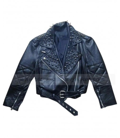 Nicole Richie Studded Black Leather Motorcycle Jacket