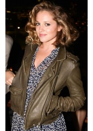 Margarita Levieva Dark Olive Green Leather Jacket