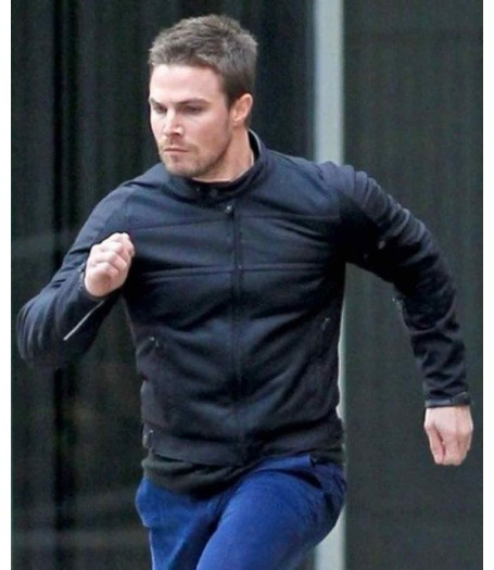 Oliver Queen Arrow Stephen Amell Black Leather Jacket