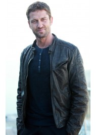Gerard Butler Olympus Has Fallen Mike Banning Black Leather Jacket