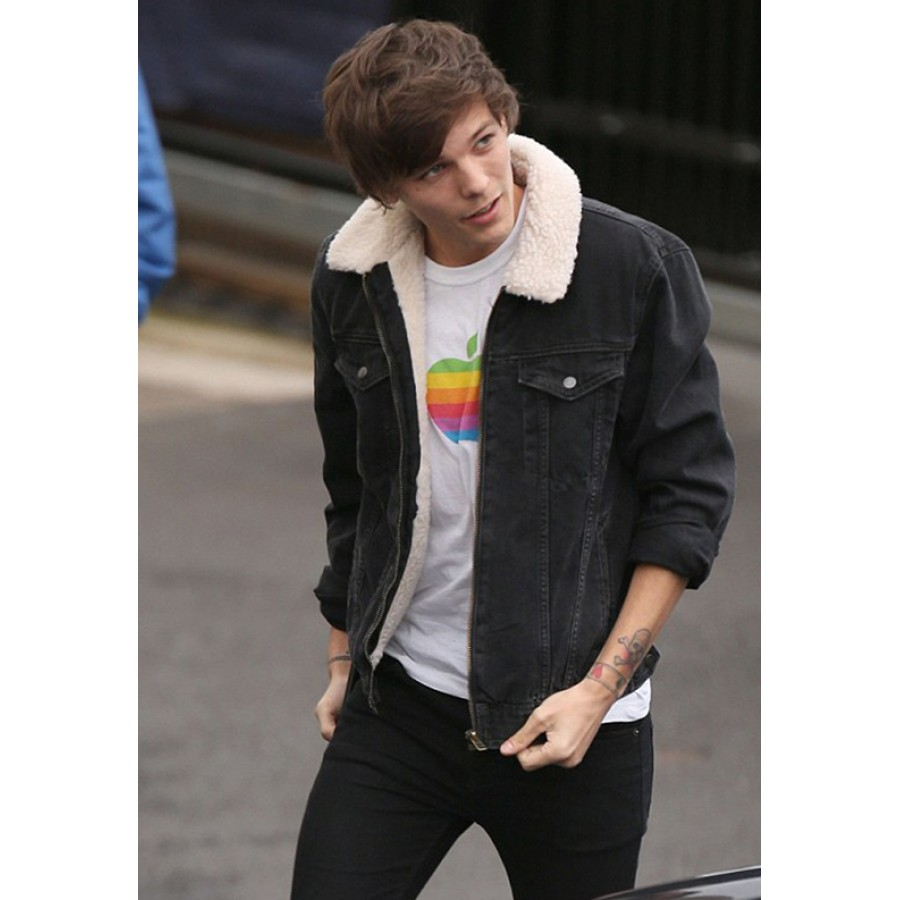 Direction Louis Tomlinson Lined Denim Jean Jacket with Fur Collar