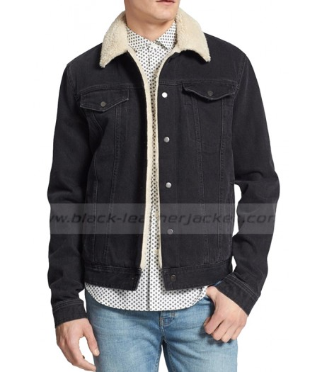 One Direction Louis Tomlinson Lined Denim Jean Jacket with Fur Collar