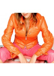 Alexandra Neldel Orange Leather Jacket