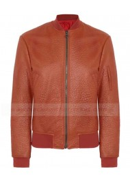 Orange Textured Leather Bomber Jacket