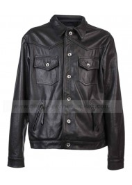 Outlaw Black Leather Biker Jacket