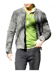 Paul New Years Eve Zac Efron Grey Leather Jacket