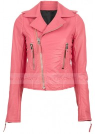 Pink Leather Biker Jacket for Womens