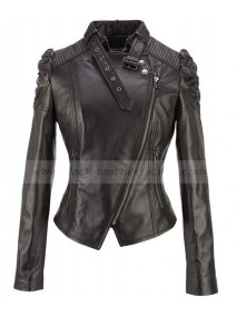 Puff Sleeve Cropped Black Leather Jacket Women