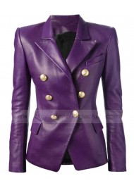 Purple Leather Double Breasted Blazer Jacket for Womens