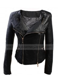 Womens PVC Quilted Biker Faux Leather Jacket Black