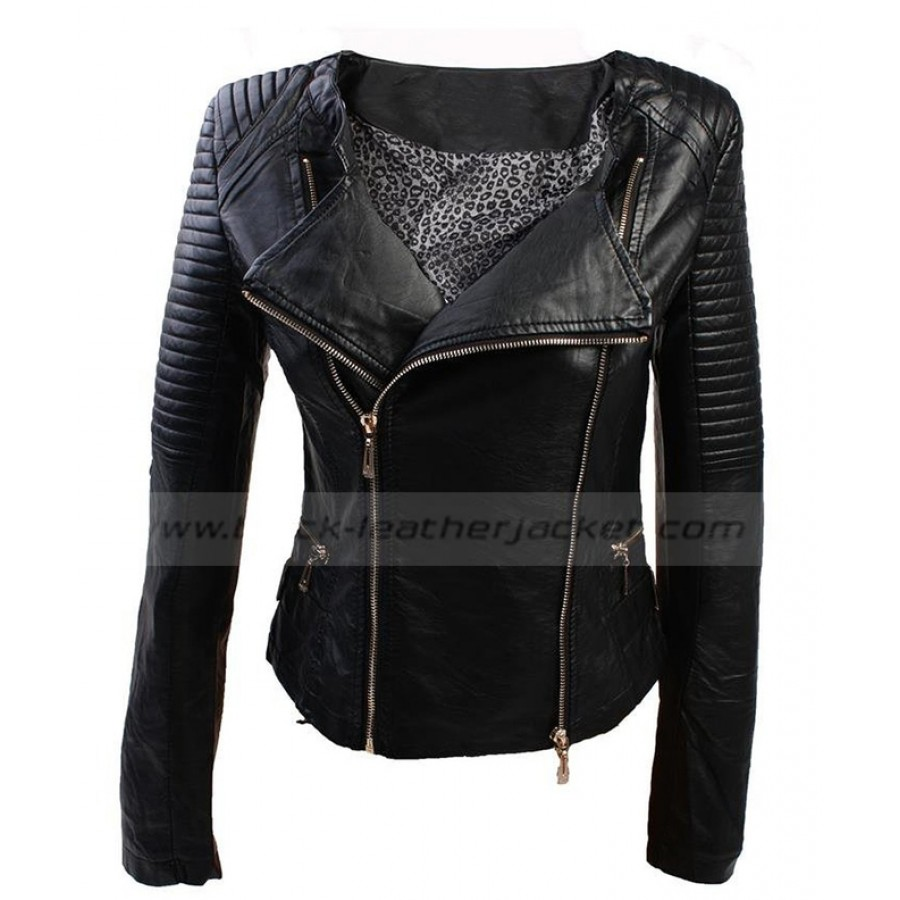 Womens PVC Quilted Jacket | Black Biker Faux Leather Jacket : faux quilted leather jacket - Adamdwight.com