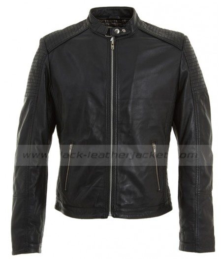 Buckle Neck Style Black Leather Quilted Biker Jacket for Mens
