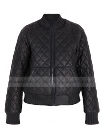 Quilted Black Leather Bomber Jacket Womens