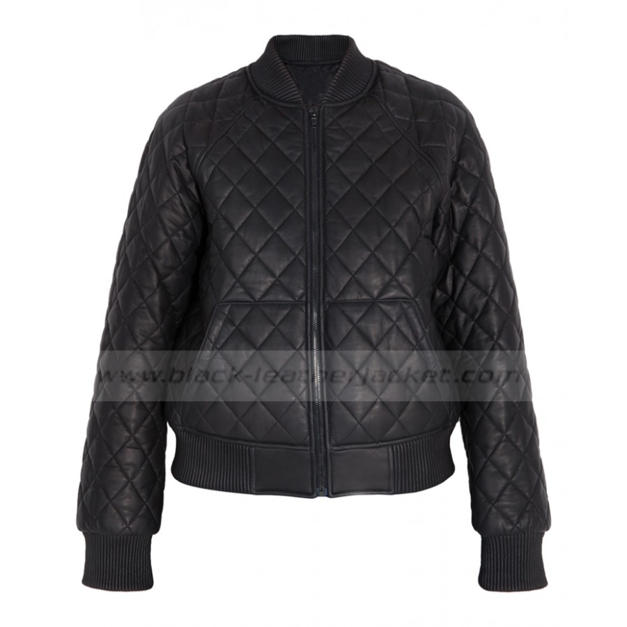 Black Leather Bomber Jacket Womens | Quilted Jacket for Ladies