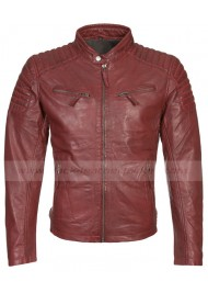 Mens Red Leather Quilted Biker Jacket