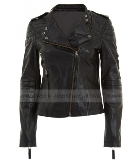 Womens Asymmetrical Black Leather Quilted Moto Jacket