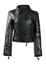 Womens Black Leather Quilted Biker Jacket