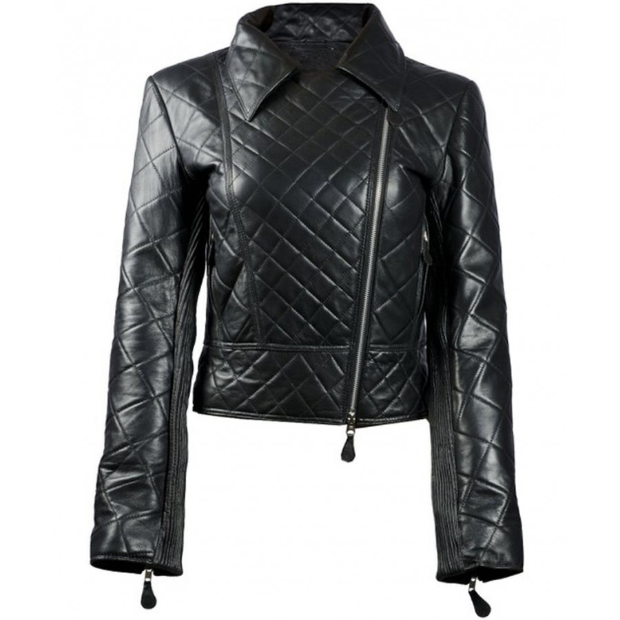 Womens Biker Jacket | Quilted Black Leather Jacket