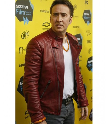 Nicolas Cage Red Leather Quilted Jacket
