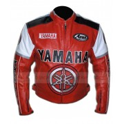 Red Racing Yamaha Leather Motorcycle Jacket