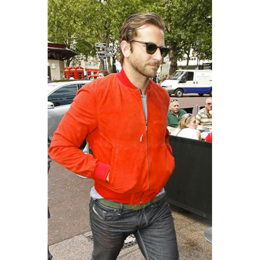 Bradley Cooper Bomber Jacket | Men's Red Suede Jacket