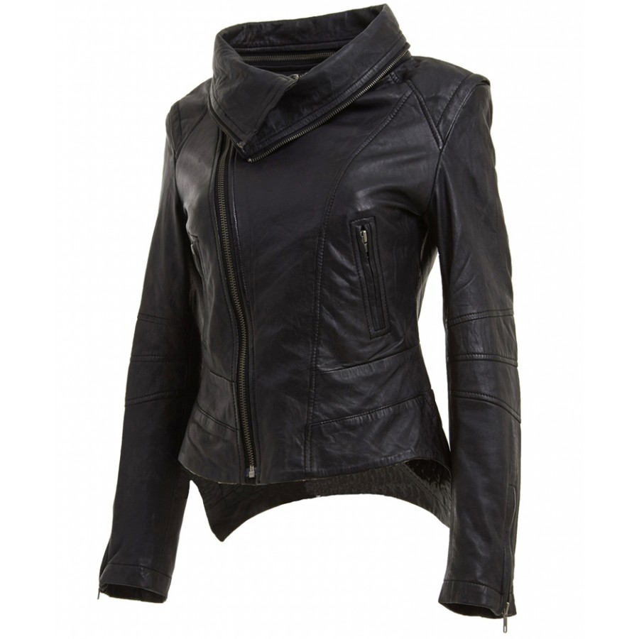 Womens Leather Biker Jacket Black | Removable Neck Motorcycle Jacket