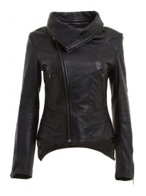 Removable Neck Womens Black Leather Biker Jacket