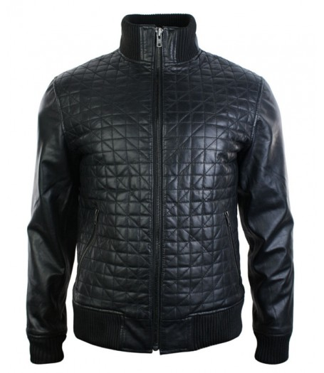 Mens Retro Slim Fit Black Quilted Leather Bomber Jacket