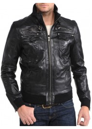 Rib Knit Cuff Men's Black Leather Bomber Jacket
