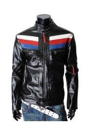 Mens Rider Casual Slim Fit Black Leather Jacket