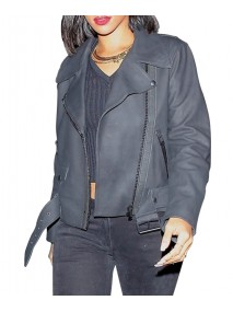 Rihanna Grey Leather Jacket for Women
