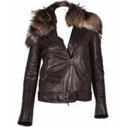 Rihanna Leather Jacket With Fur Collar