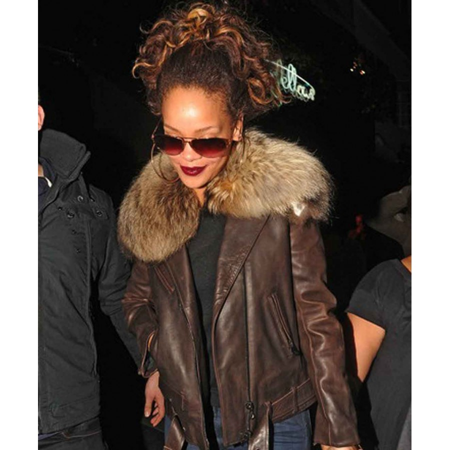 Rihanna Jacket | Leather Jacket With Fur Collar