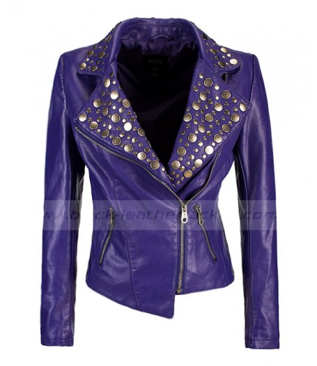 Rivet Studded Womens Purple Leather Biker Jacket