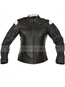 Road Racer Rally Ladies Black Leather Motorcycle Jacket