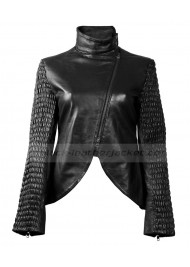 Ruched Panel Womens Black Leather Biker Jacket