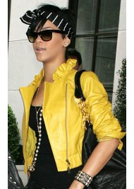 Rihanna Ruffled Collar Yellow Leather Jacket