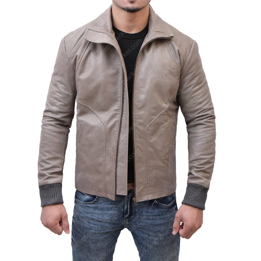 Brown Leather Biker Jacket | Ryan Reynolds Motorcycle Jacket