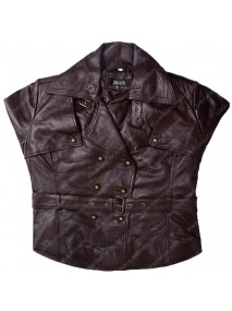 Safari Brown Lambskin Belted Leather Jacket For Women