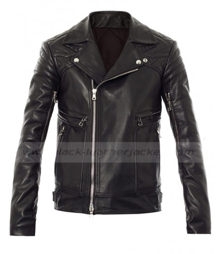 From Paris With Love Sam Worthington Black Leather Quilted Jacket