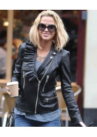 Sarah Harding Ladies Black Leather Biker Jacket