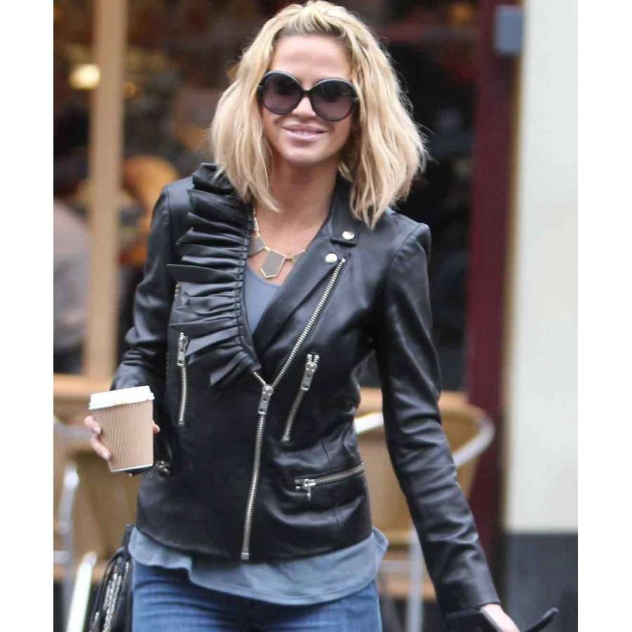 Sarah Harding Jacket | Ladies Black Leather Biker Jacket