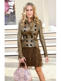 Sarah Jessica Parker Double Breasted Leather Jacket
