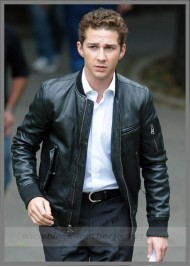 Shia Labeouf Black Leather Jacket Wall Street