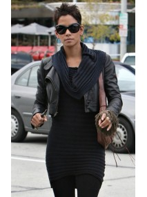 Halle Berry Short Black Leather Jacket
