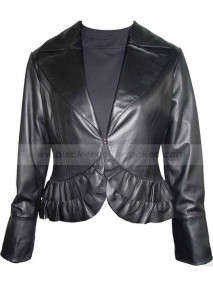 Short Bolero Lambskin Black Leather Jacket for Womens