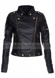 Side Zipper Womens Black Leather Biker Jacket