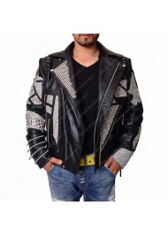 Mens Silver Studded MotorCycle Leather Jacket