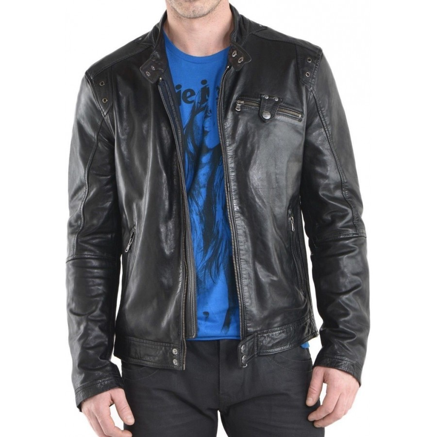 Look Designer Black Leather Jacket